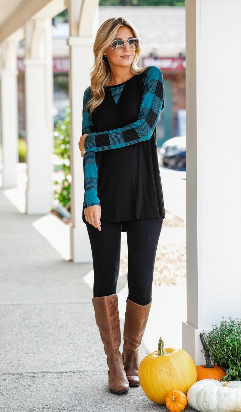 Fall's Finest Top, Teal & Black Buffalo Check
