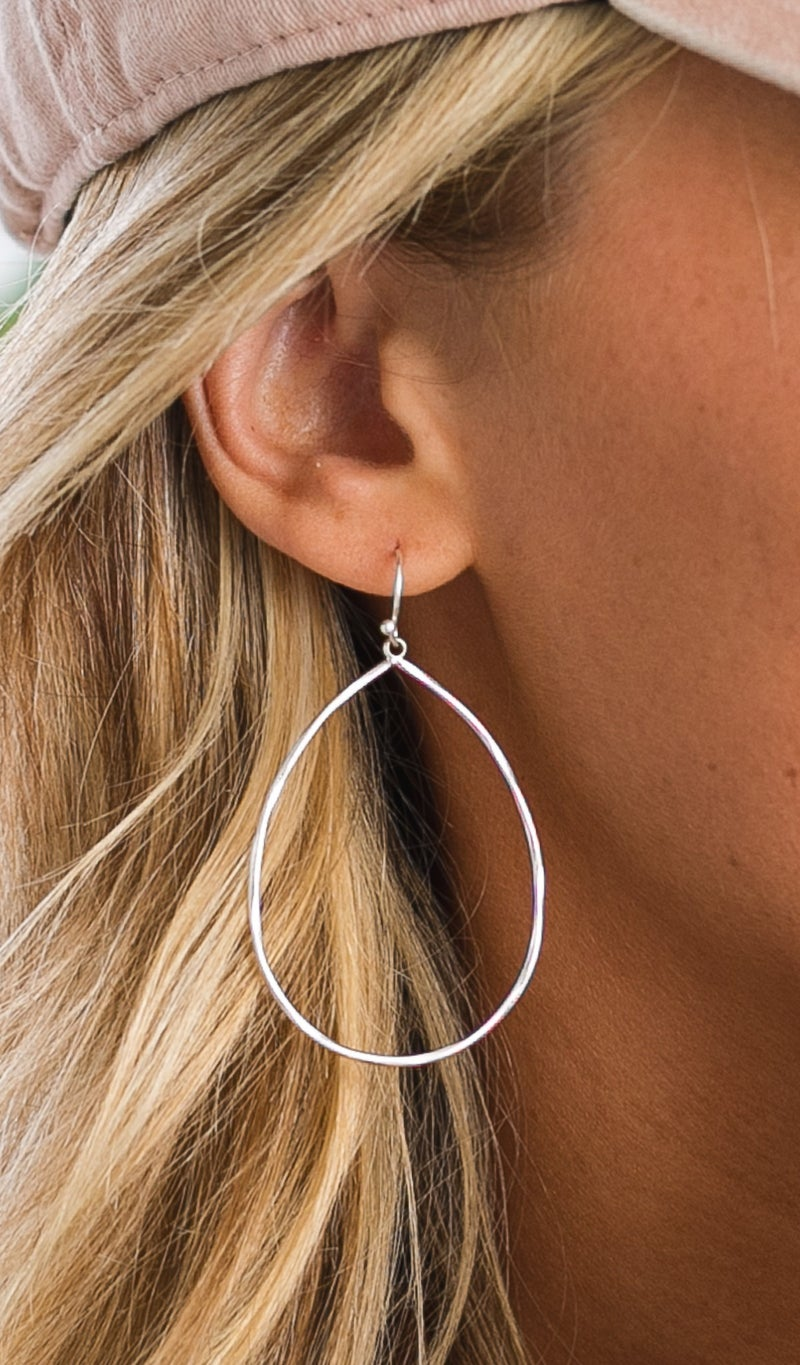 Teardrop Earrings, Silver
