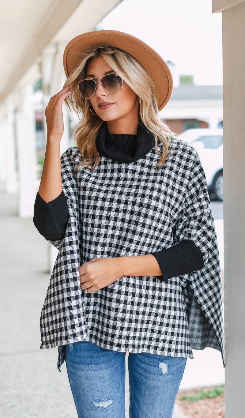 Check Mate Poncho, Black & Ivory