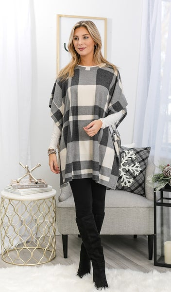 Feeling Festive Oversized Top, Plaid Charcoal