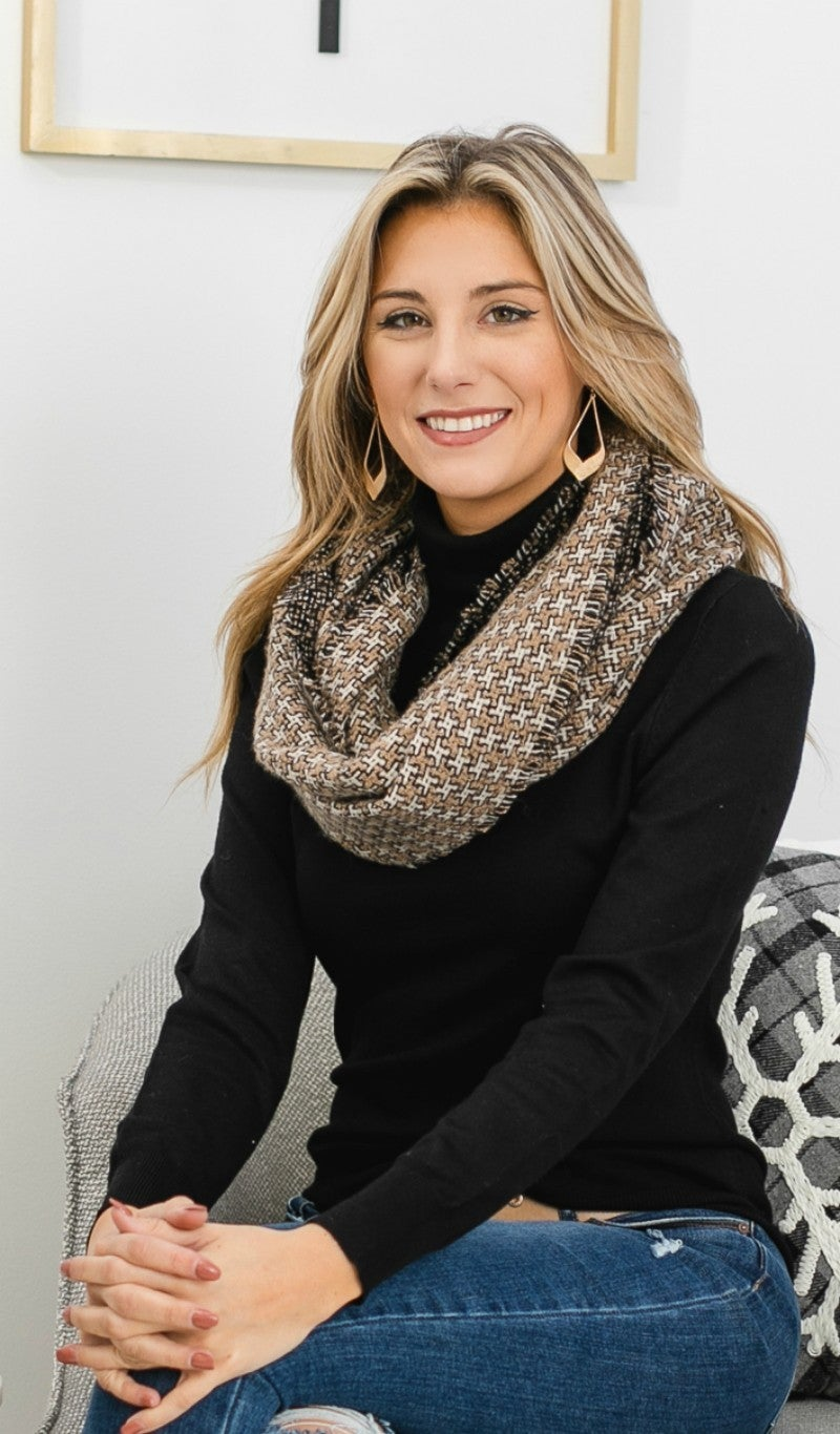 Autumn Breeze Houndstooth Pattern Scarf, Taupe
