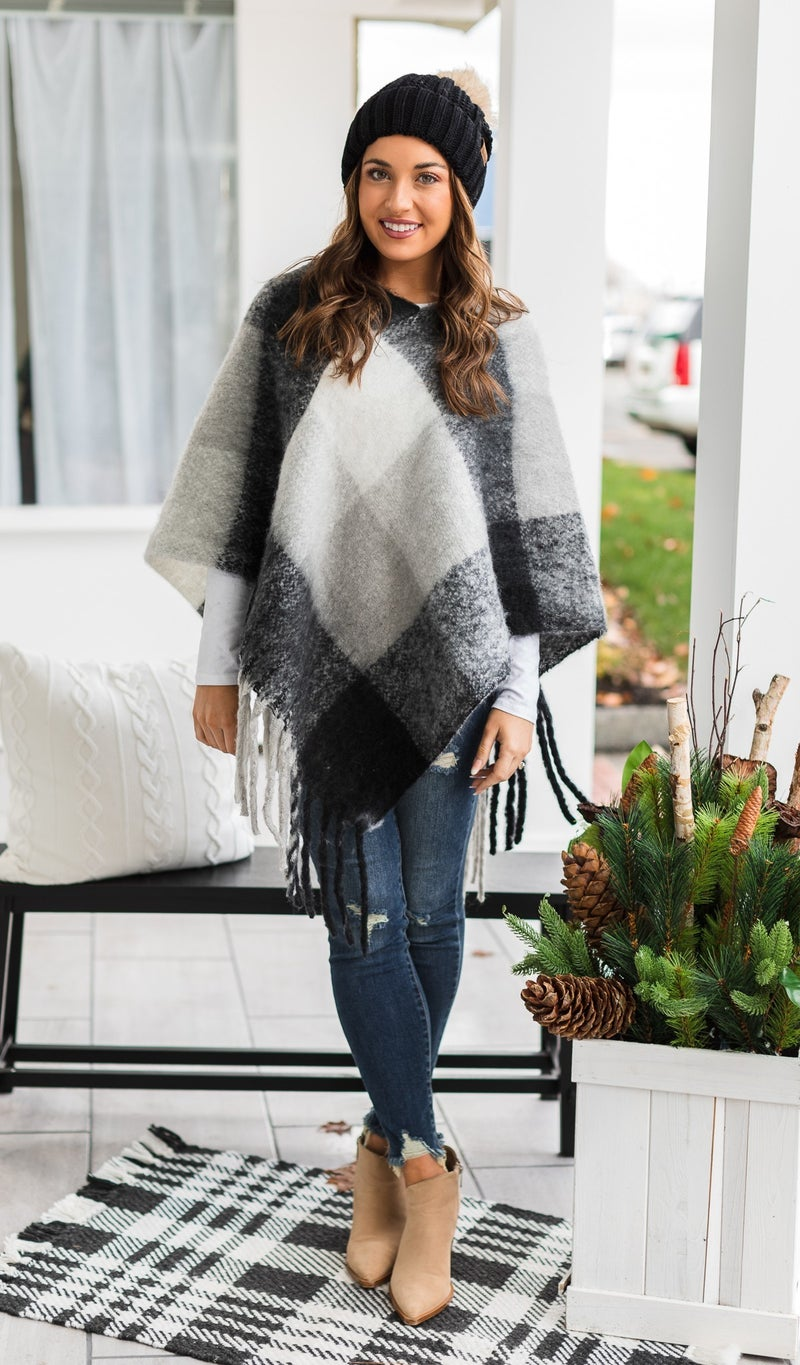 Find Me In The Orchard Poncho, Black & White