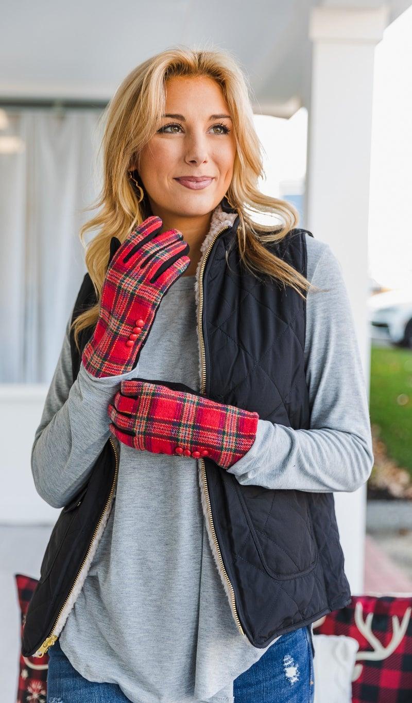 DOORBUSTER-9.99!  Plaid Essential Smart Gloves, Red or Black *Final Sale*