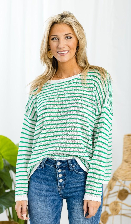 Stripes Ahoy Sweater, Kelly Green
