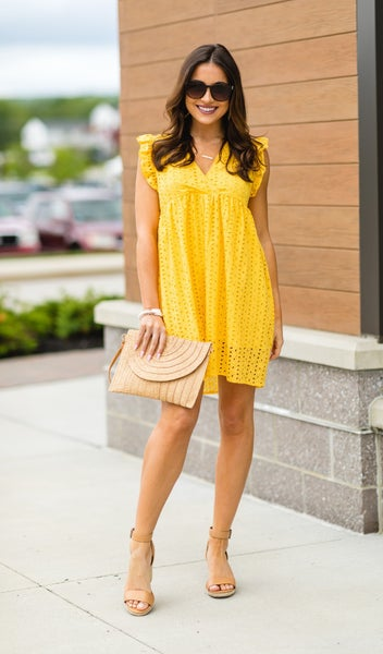 The Isla Eyelet Dress, Yellow