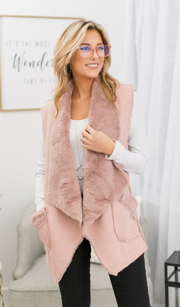 Cozy Layers Vest, Pink