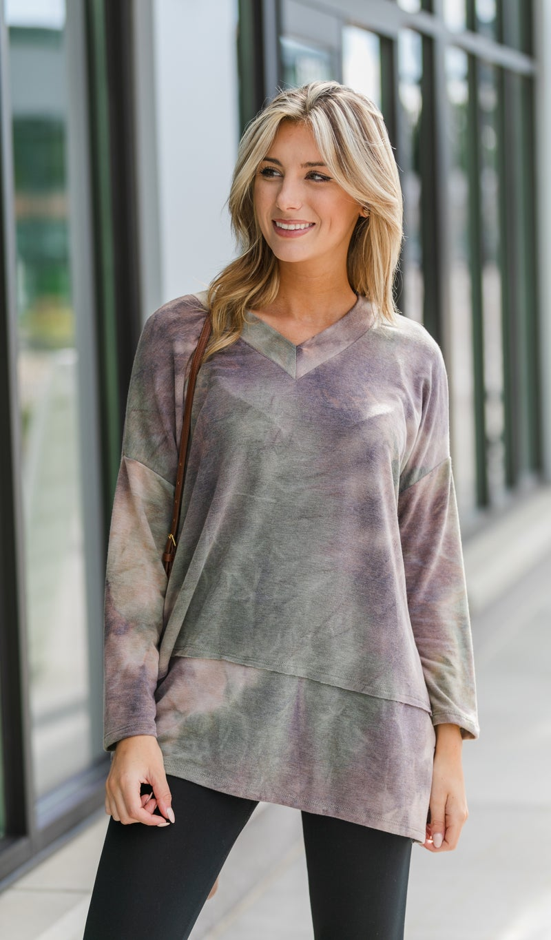 Weekend Feelings Top, Olive Tie Dye