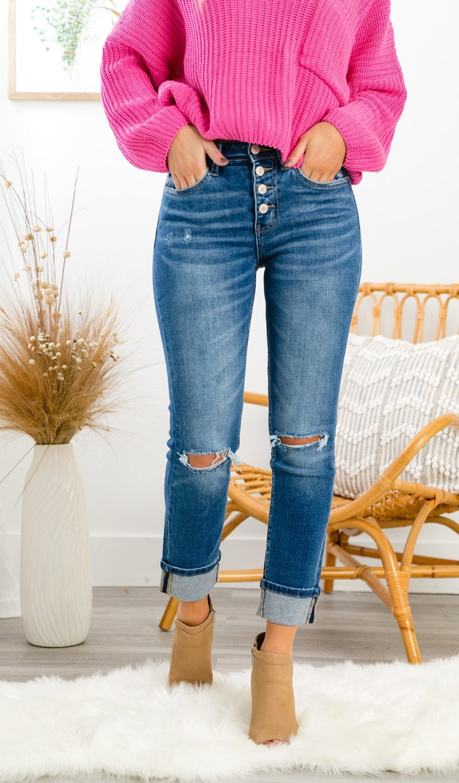 The Gretta Straight Leg Denim, Medium Wash