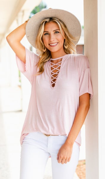 Joey Criss-Cross Top, Ivory or Blush