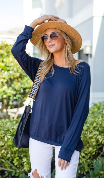 Good Vibes Top, Navy