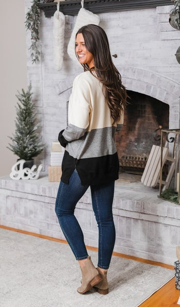 Nice For Me Sweater, Ivory Color Block