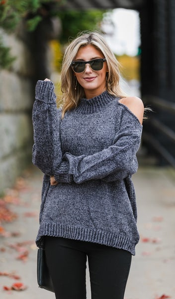 Meet Me There Sweater, Charcoal or Hunter Green