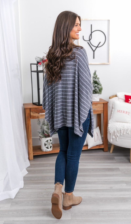 Caroline Striped Tunic, Charcoal