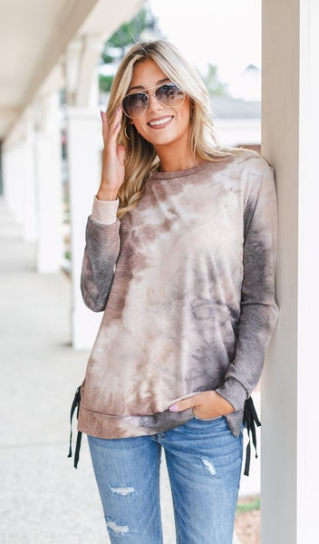 All Fun Tie Dye Top, Brown
