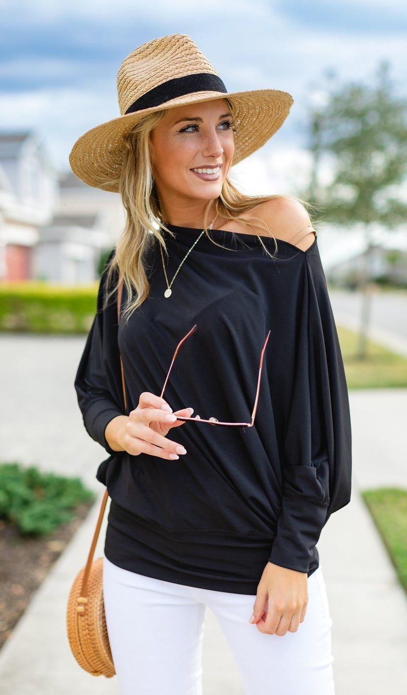 Kristen's Favorite Dolman Sleeve Top, Black