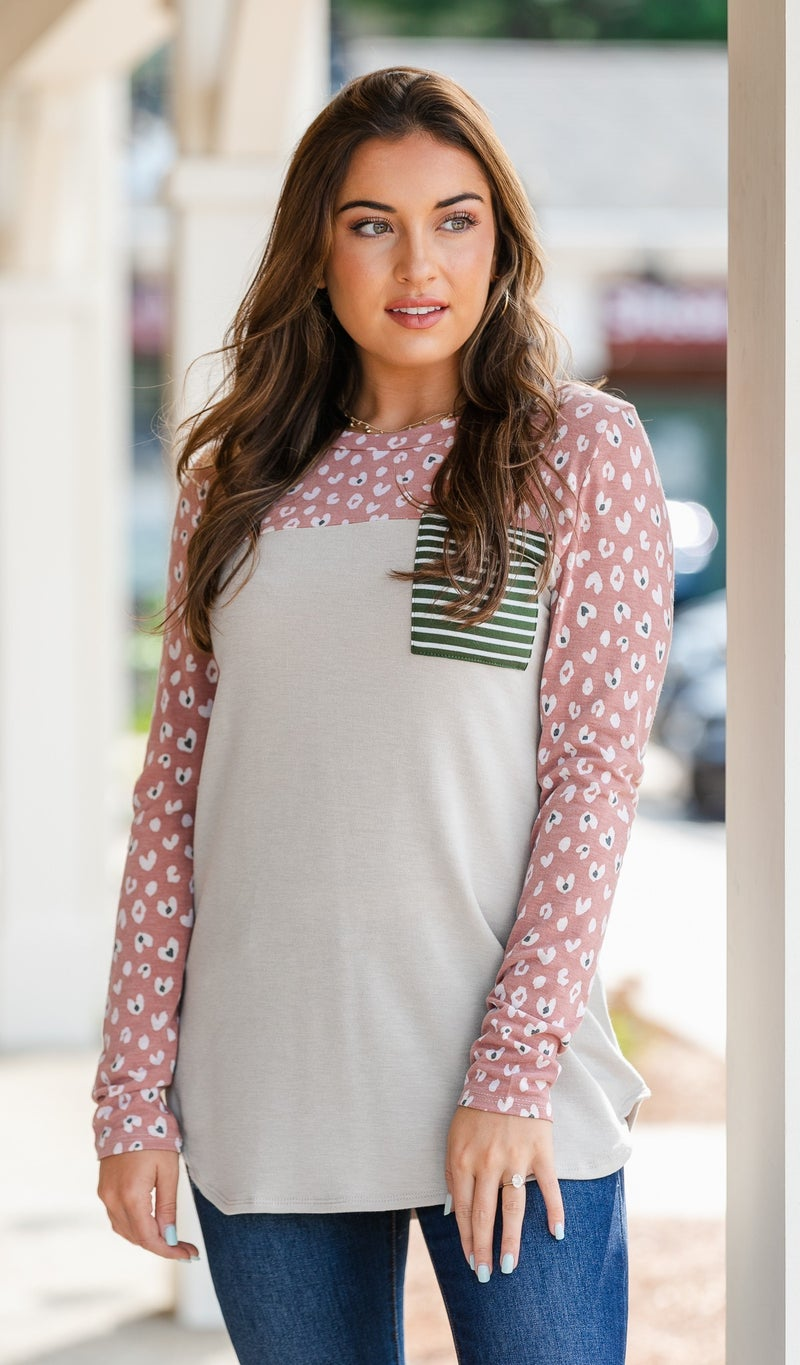Shades of Fall Print Tunic, Taupe