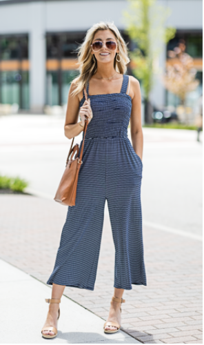 The Juliet Jumpsuit, Navy with White Stripe