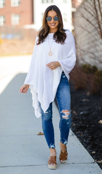 Lovely Lady Sweater Poncho, Ivory