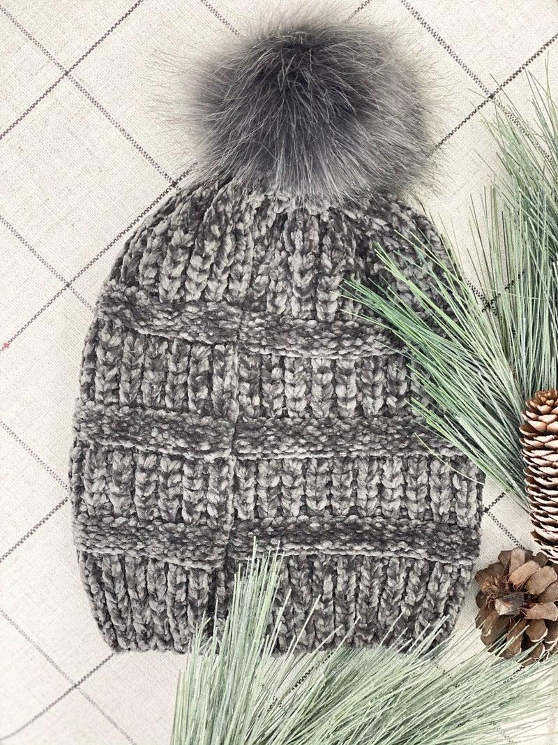 Chenille Hat, Grey