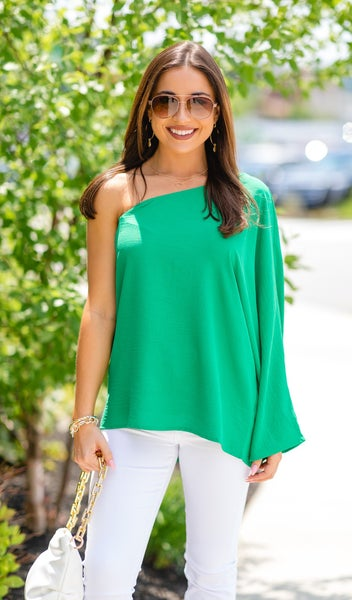 The Ellie Blouse Top, Kelly Green