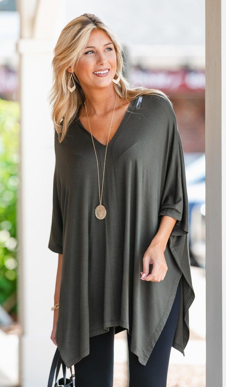 Call On It Oversized Tunic-Black, Olive, or Mauve