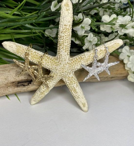 Starfish Dangle Earrings, Silver or Gold