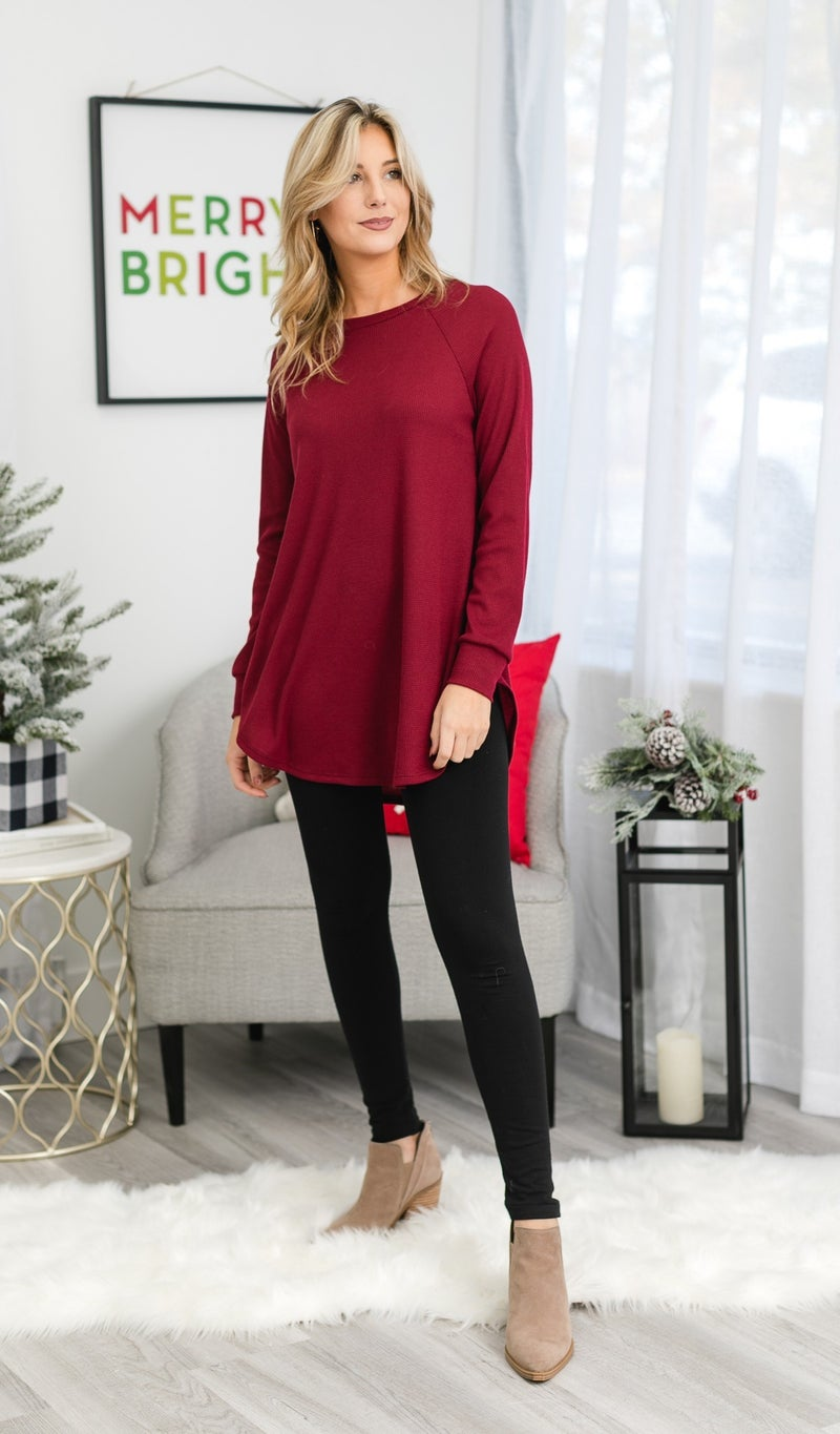 Must Have Layering Waffle Tunic, Burgundy or Grey