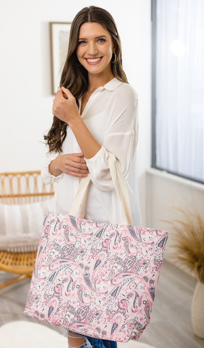The Paisley Tote, Navy or Pink