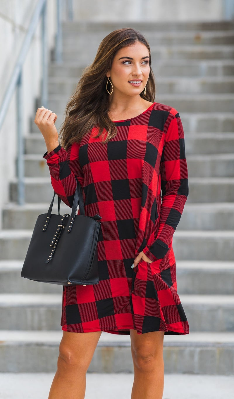 Crisp As Can Be Buffalo Check Dress,  Red & Black