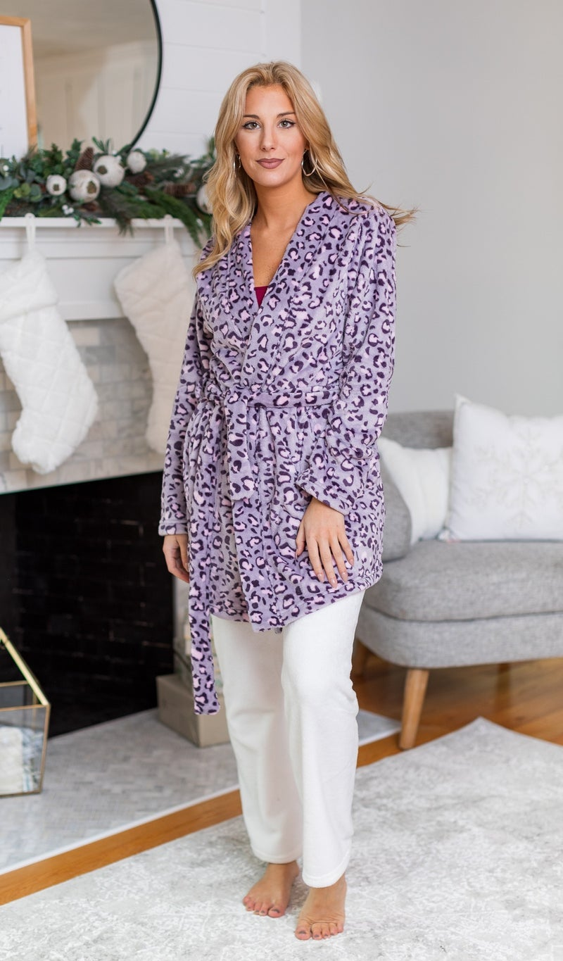 Sweet Dreams Print Robe, Lilac, Taupe or Grey