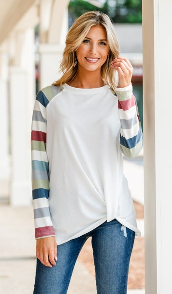 Grab N' Go Ivory Top/Tunic, Striped Sleeve