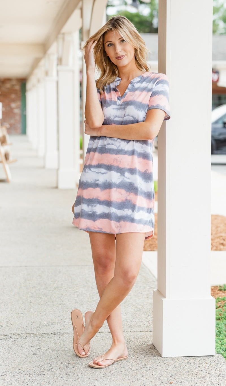 Best Wishes Dress, Coral Tie Dye