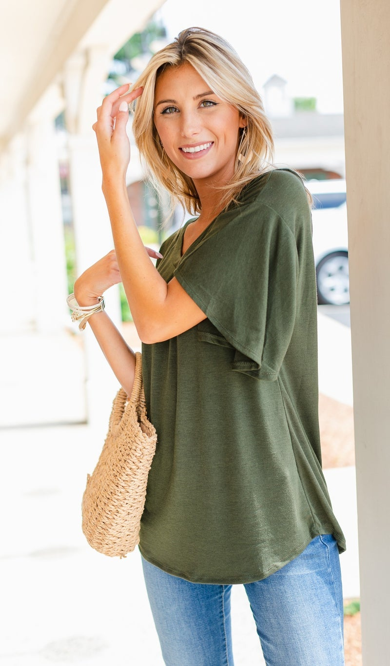Simple Sights Top-Olive, Charcoal, Or Navy