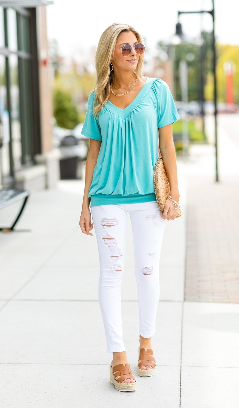 The Brightest Day Top, Baby Blue, Navy, Light Blue, Coral, Or Bright Pink
