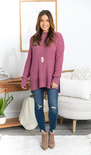 The Cozy Free Sweater, Jade or Mauve