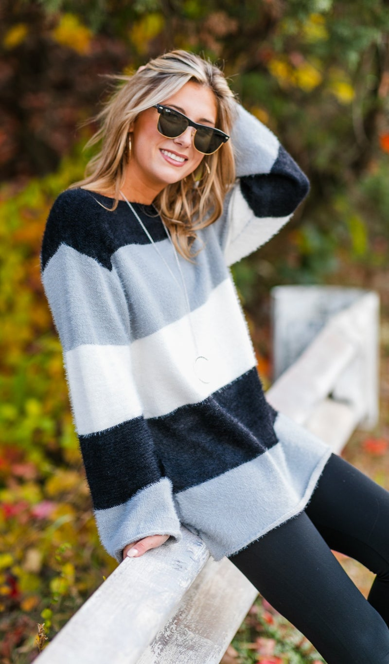 Somewhere Down The Line Sweater, Black or Olive