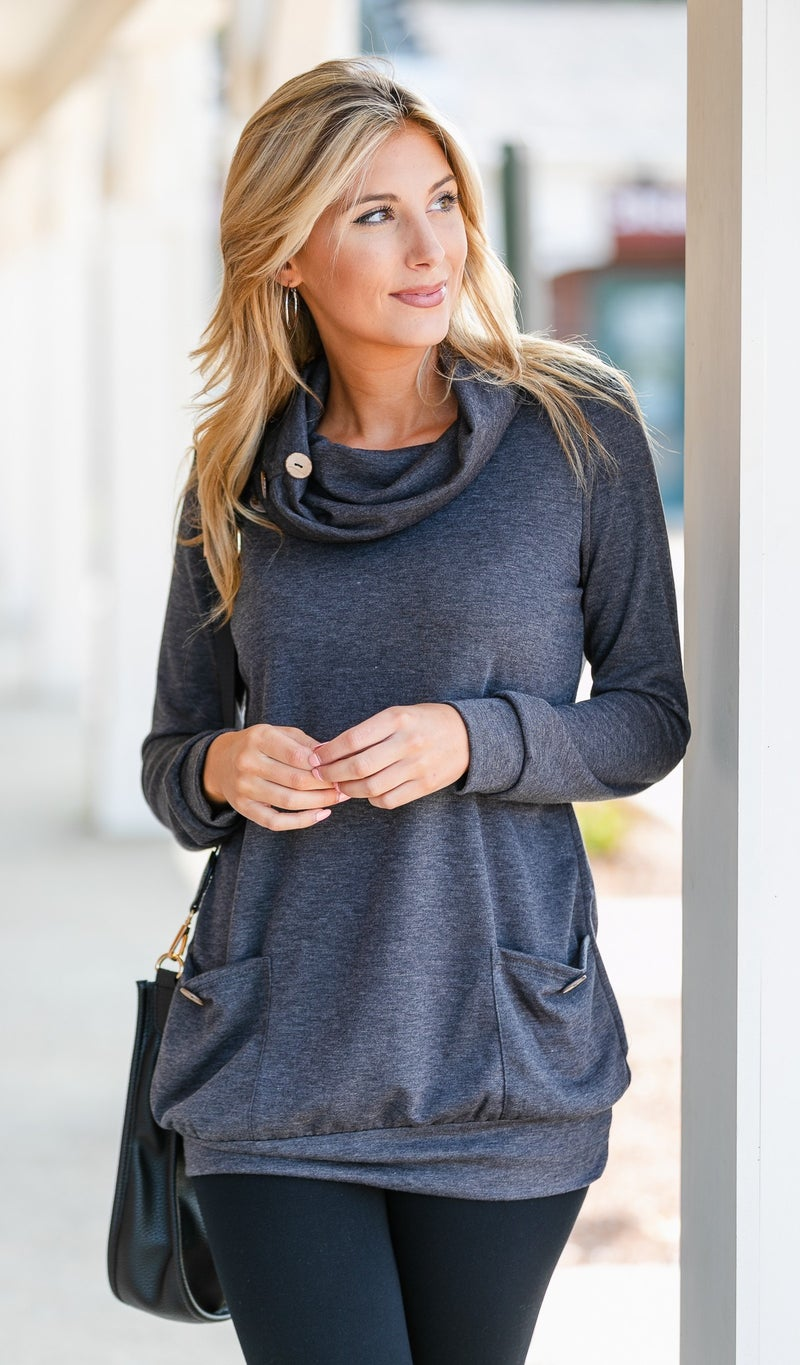 Fall Into You Tunic, Navy , Charcoal, Black or Burgundy