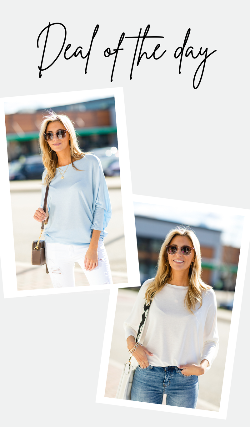 The Maggie French Terry Tunic, Blue or Ivory