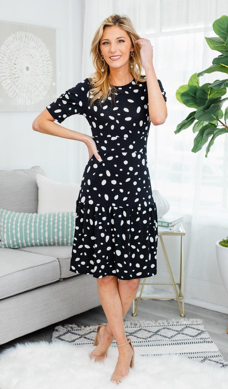 Polka Dot Dream Dress, Black
