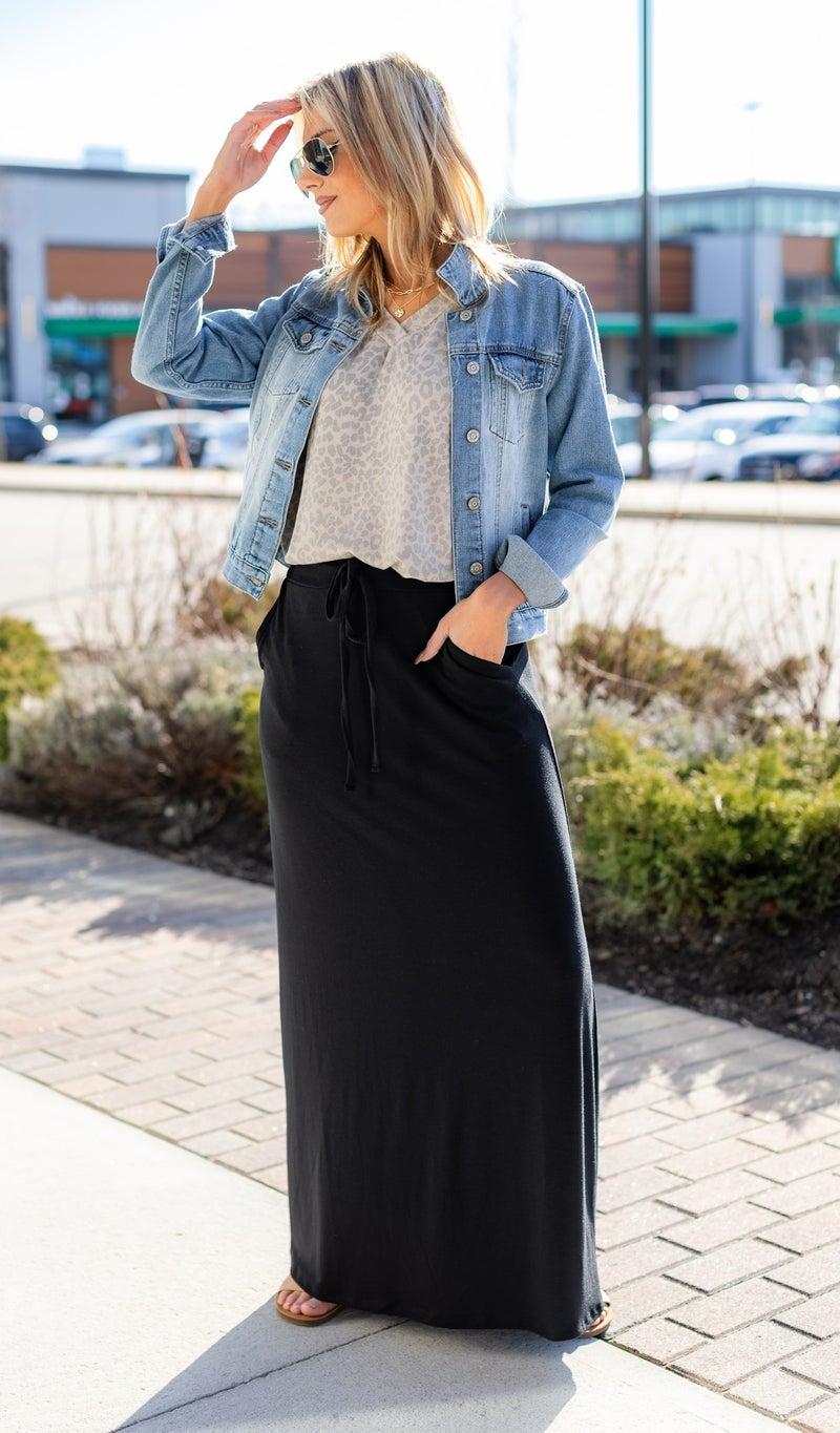 Daisy Maxi Skirt, Black