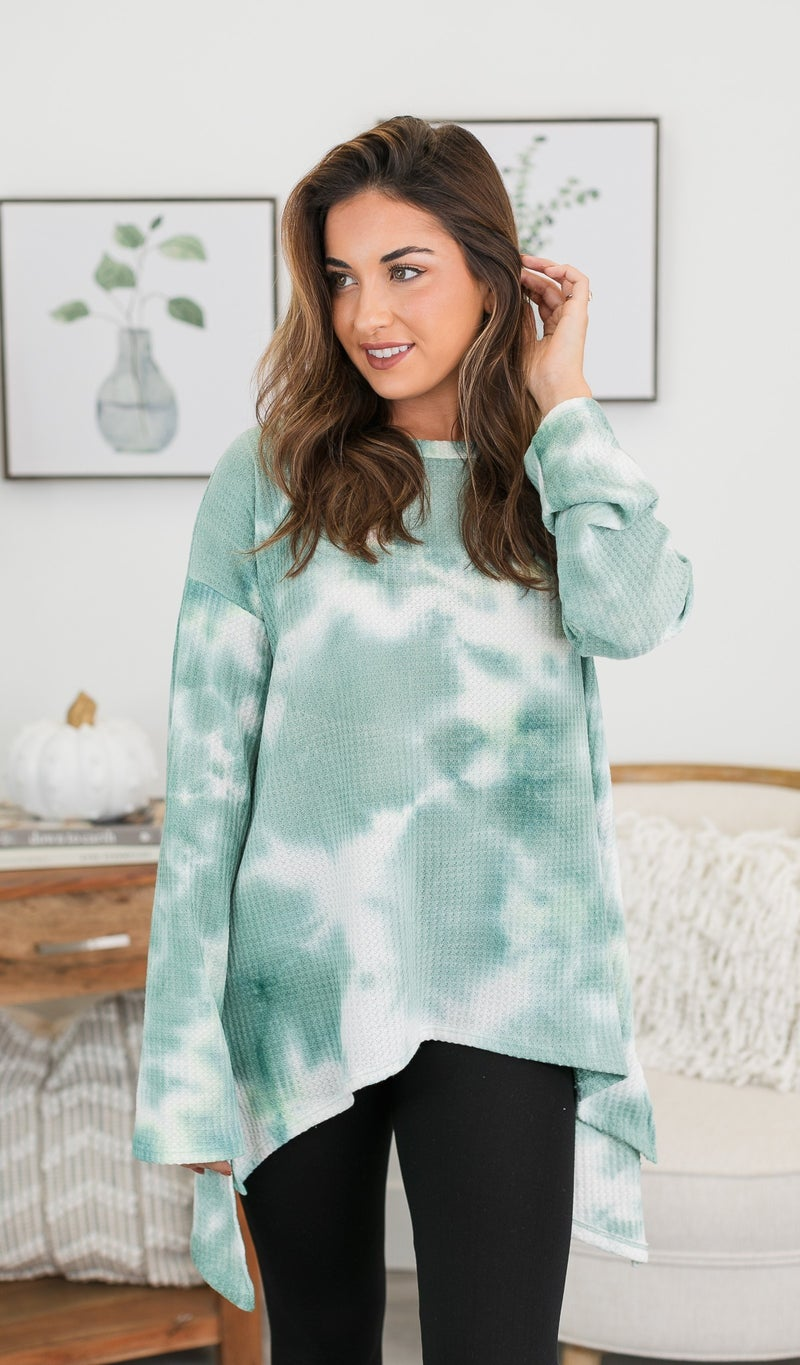 The Whimsical Top, Sage Tie Dye