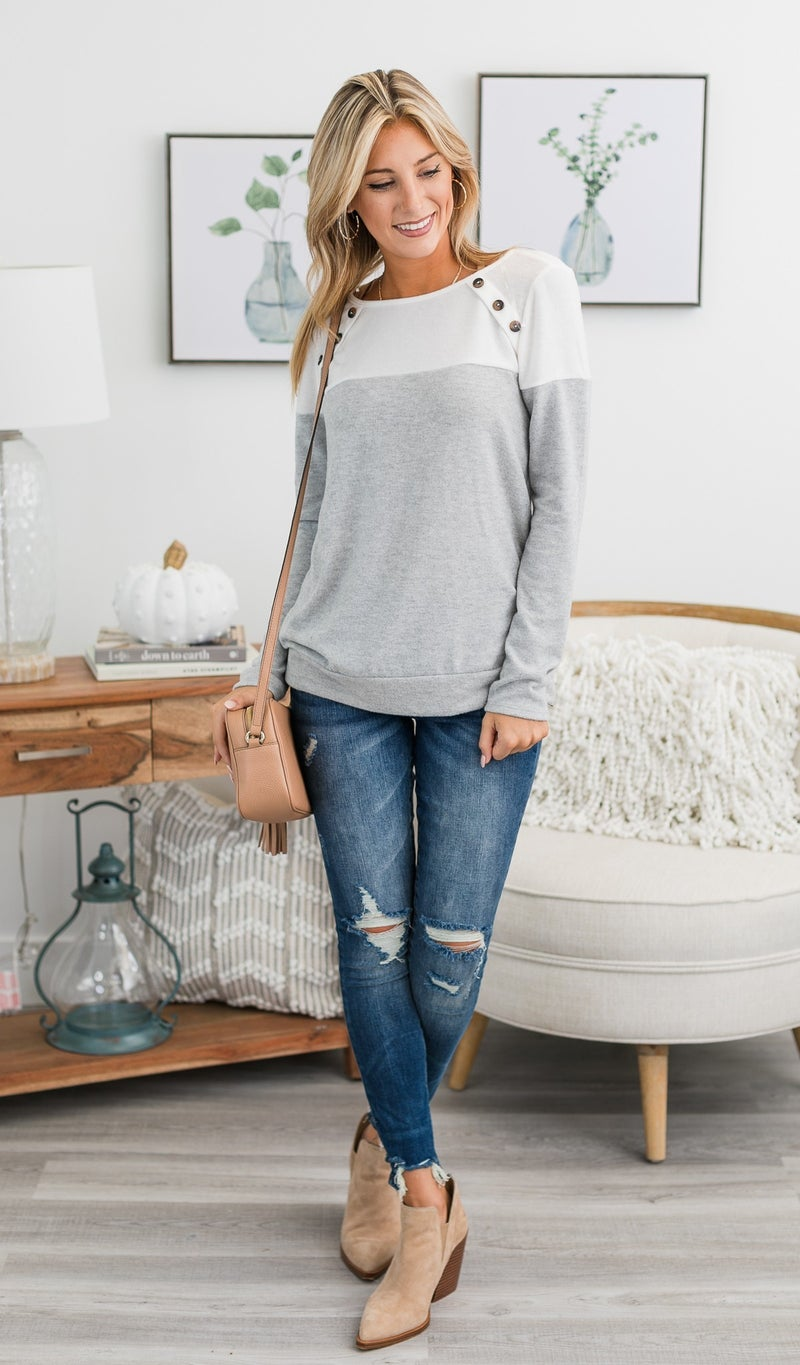 The Darby Top, Grey