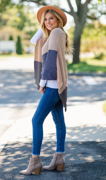 Patchwork Chenille Poncho, Blue