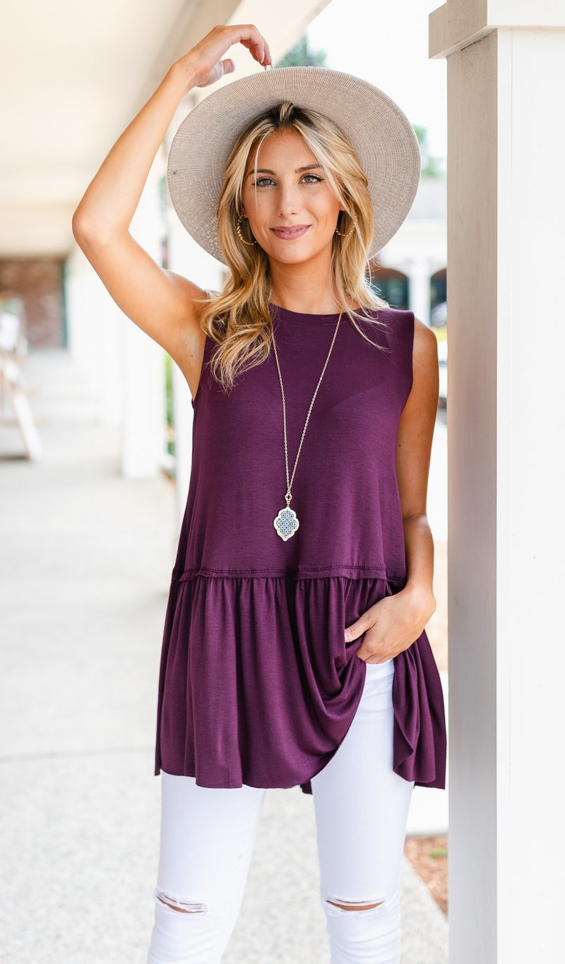 Colby babydoll Tank, Plum or Olive