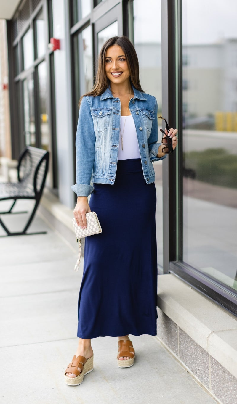 Paradise Bay Maxi Skirt, Navy