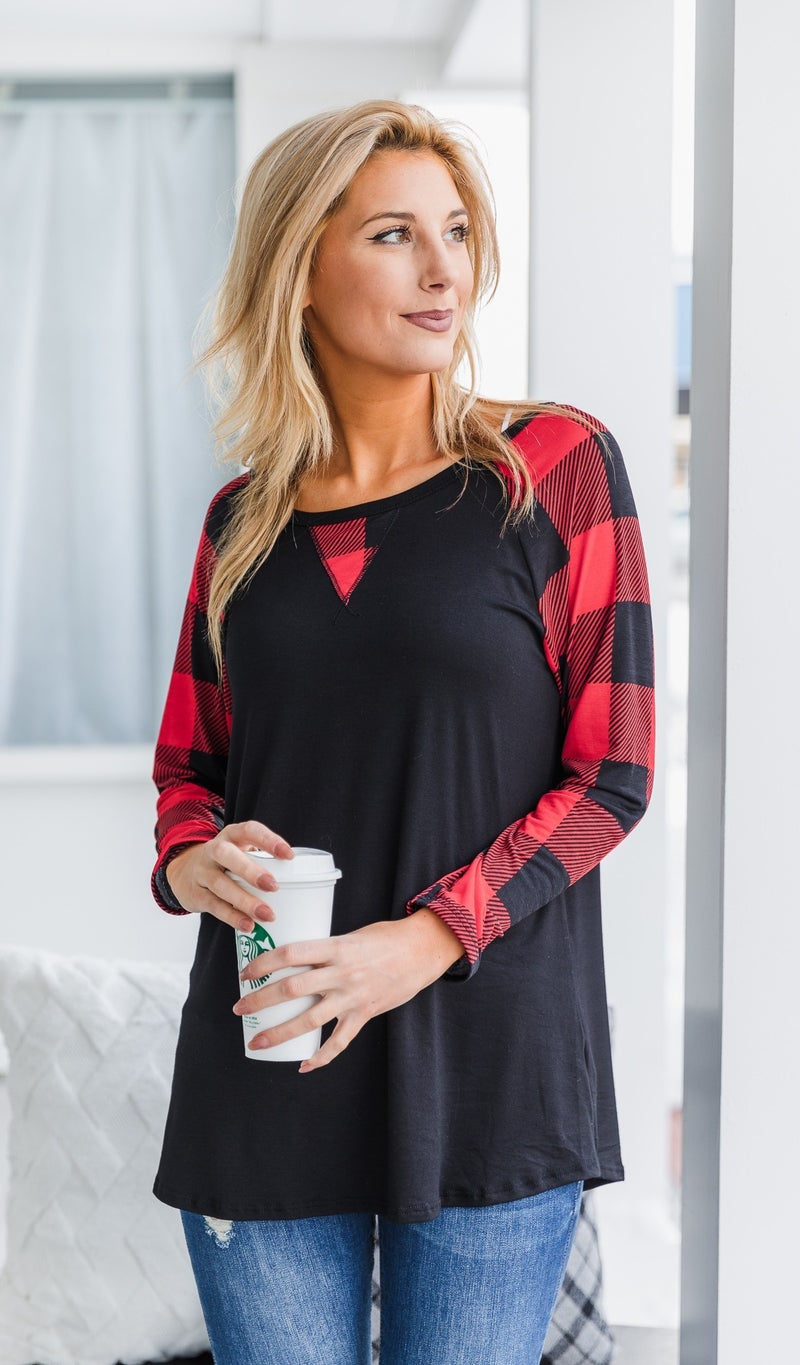 On A Dream Top, Black/Red *Final Sale*