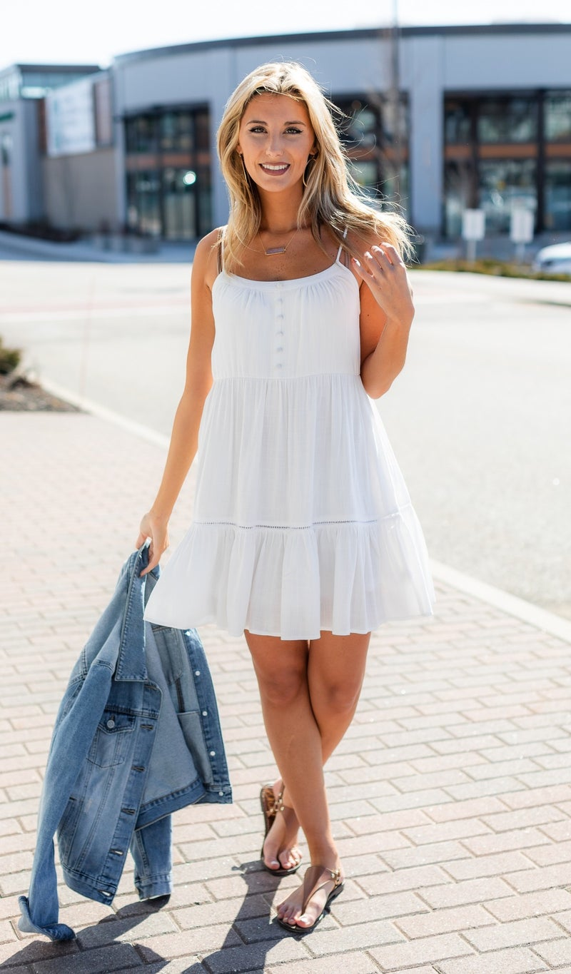 Tatum Tiered Mini Dress, Off White