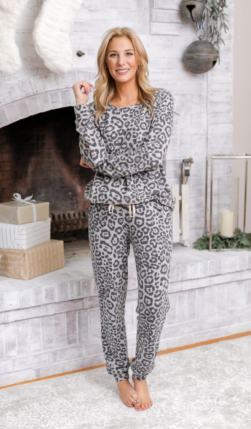 DOORBUSTER!!! Love Does It All Jogger Print, Taupe or Grey