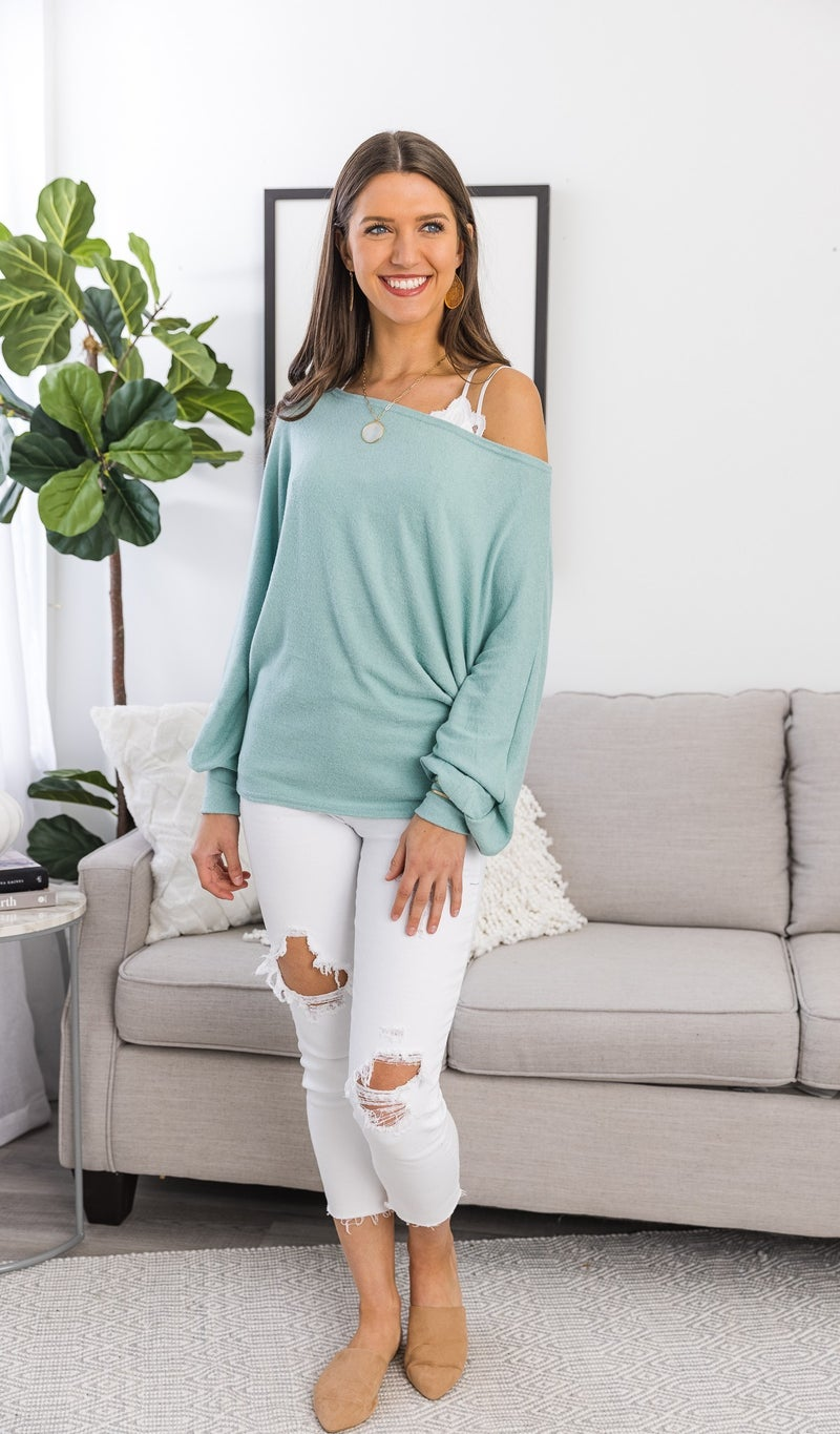 The Clarissa Top, Sage