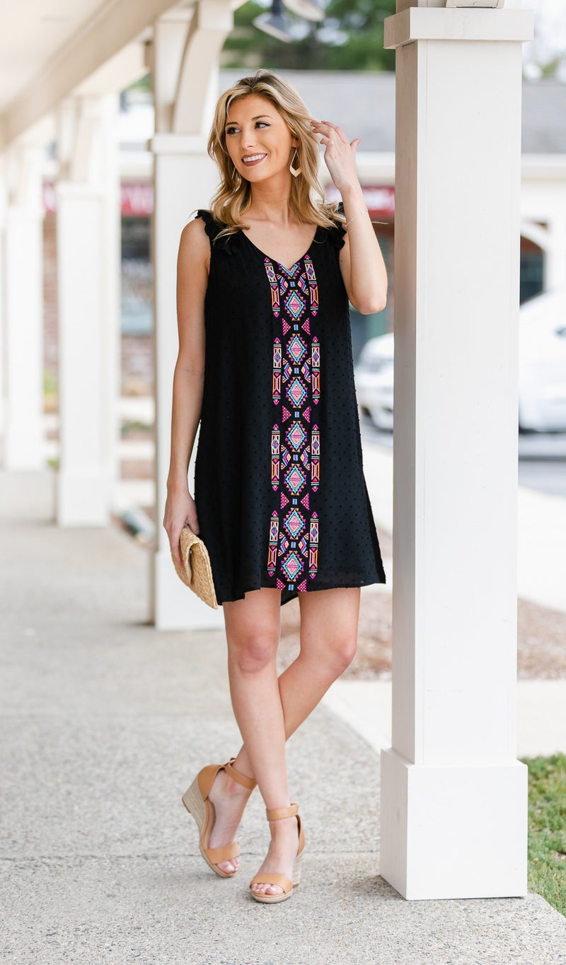 Colored With Passi Dress, Black